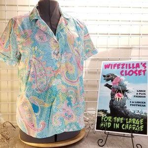 Lauren Ralph Lauren Pastel Paisley Sleep Shirt XL